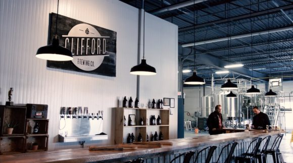 This is an image of the Clifford Brewing taproom. Get a $2 craft beer here using the Craft Beer Passport app.