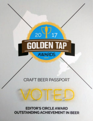 This is a photo of the Golden Tap Award won by Craft Beer Passport in 2017.