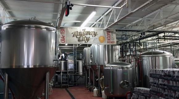 This is a photo of Railway City Brewing's taproom. Get a $2 craft beer here with Craft Beer Passport app.