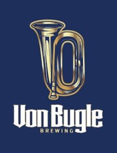 This is a photo of Von Bugle Brewing's logo. Get a $2 craft beer here with Craft Beer Passport app.